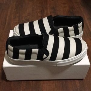 Céline slip on b&w stripes